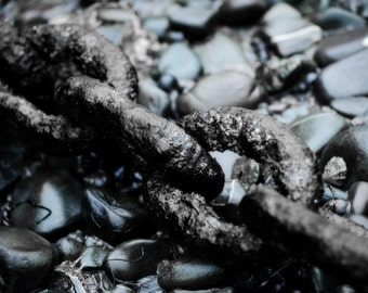 Black Harbour Chain and Wet Stones Close Up Fine Art Photograph - Clovelly Village England - Gallery Quality Prints for Home or Office Decor