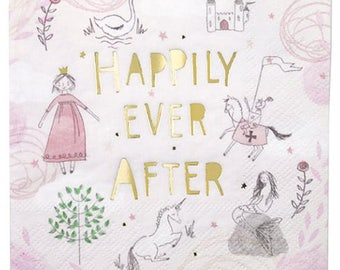 Whimsical fairytale napkins featuring a princess, a unicorn, a palace & a knight, with gold lettering.