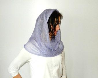 Head-covering Infinity shawl scarf Knit chapel veil Linen loop Scarf Spring Shawl Woman circle scarf Knit cowl Scarf Ladies shawls wraps