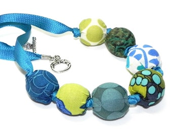 Fabric Necklace - Handmade beads - Teal, turquoise blue and lime green - Wedding Bridesmaids - Birthday gift idea