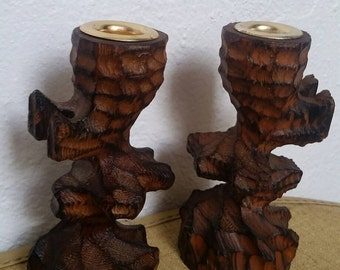 1970s Wood Carved Candlestick Holders