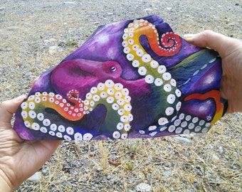 Rainbow Octopus Slate Rock Painting (large size)