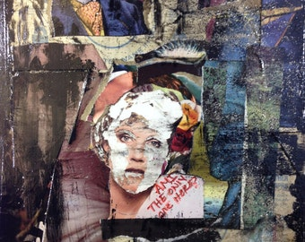 Collage art on 18x24 Canvas art canvas mixed media collage art using vinyl record covers