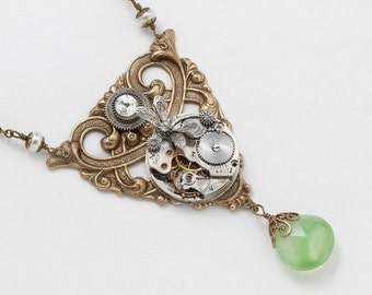 Steampunk Necklace Vintage silver pocket watch movement with pearl, crystal & green Chalcedony silver dragonfly Victorian gold pendant  2784