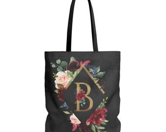 Personalized Tote, Bridesmaid Gift, Tote Bag, Monogram Tote, Bridesmaid Tote, Custom Tote Bag, Monogram, Gift For Her, Floral Tote Bag, Gold