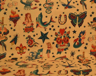 Vintage Tattoo Print Cotton Fabric, Tea, Light Brown, Alexander Henry Fabrics, Traditional Tattoos Print
