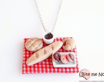 Mini Food Bakery Necklace, Bread - Croissant - Donuts Necklace, Miniature Food, Baked Pastries Necklace, Food Jewelry, Pasties Jewelry