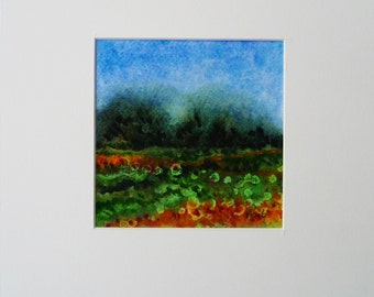 Abstract Watercolor Painting, Watercolor Landscape, Small Landscape Art, Small Painting, Landscape Wall Art, Minimalist Painting, Small Gift
