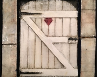 Lovely Gate - mixed media painting