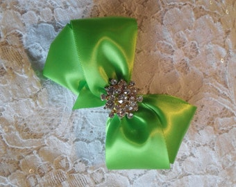 Lime Green Satin Hair Bow with Rhinestone Center, Chartruse Flower Girl Hair Bow, Hair Bow, Christmas Bow