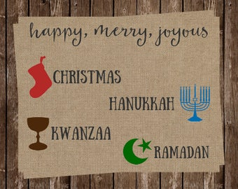 Hipster Christmas Cards, Funny Holiday Season Card, Merry Everything, Printed, Ready to Send, Set of 24 with Envelopes