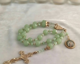 """Blessing Against Storms Brass Artisan Chaplet, Catholic Storm Blessing, Stella Maris, Catholic Gift, """"A New Spring"""""""