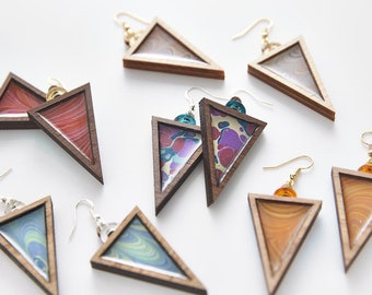 Esoteric london x paperwilds collaboration - marbled triangle earrings