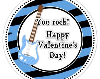 Valentine's Day You Rock Stickers, Zebra Print, Blue, Rock and Roll - 2.5 inch round