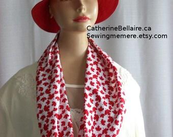 Canada Day Scarf - Circle Infinity Scarf - Red Maple Leaf, Canadian Souvenir - Flag
