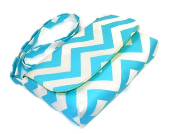 Small Blue Chevron Purse, Mini Messenger Bag, Chevron Pocketbook, Light Turquoise Crossbody Bag - Aqua Chevron Bag, Adjustable Strap