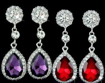 Purple Bridal Earrings Purple Wedding Earrings Red Bridal Earrings Red Wedding earrings Red Bridesmaids Earrings Red Drop Earrings Jewelry