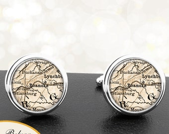 Map Cufflinks Roanoke VA Handmade Cufflinks City State Antique Maps Virginia Groomsmen Wedding Party Fathers Dads Men