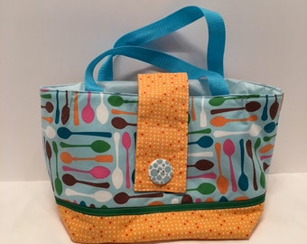 "LBL15- Tall Lunch Bag- Large: ""Spooning""  washable insulated lunch bag with drawstring closure at the top."