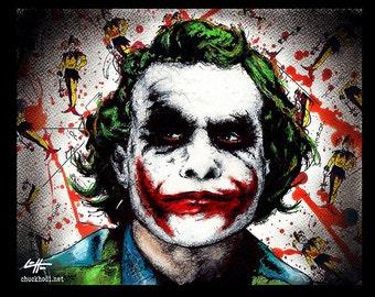 "Print 11x14"" - Joker - Batman Dark Knight Heath Ledger Christian Bale Dark Art Super Villian Hero Lowbrow Art Pop Gotham City Crime Clown"