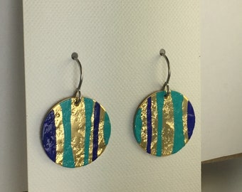 18K Gold Plated with Turquoise and Navy Patina