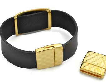 Hammered Magnetic 20MM Clasp - Flat Leather Clasp - Nickel Free Gold  (Qty. 1)
