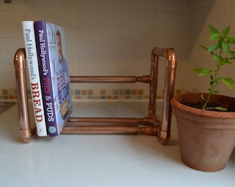 Copper book rack (extendable), copper pipe, rustic kitchen style, book shelf