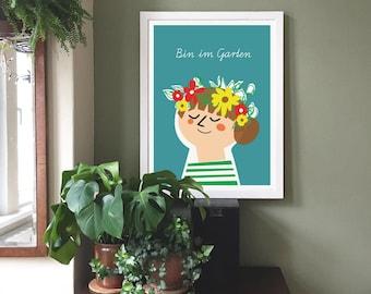 Am in the garden (in German) Flower Child, Flower Wreath, Garden Art, Illustration, Wall Art, Printable Art, Instant Digital Download
