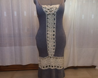 Festive dress made of knitted and crochet