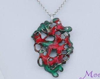 Wire Enamel Pendant, Copper, Colorful Pendant Necklace, Sterling Silver, Red and Green, Wire Pendant, Unique Wire Jewelry, Enamel Copper