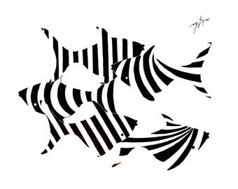 KW Fish, Pen, Ink, Pen and Ink, Print, Black and White
