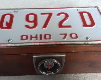 Antique wood storage trinket junk box with 1970 Ohio License plate and RAC Amp gauge