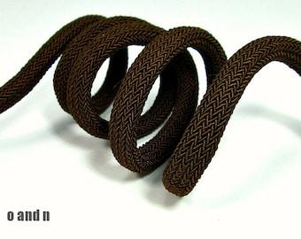 Braided silk cord, 8mm bookbinding rope, brown (1m)