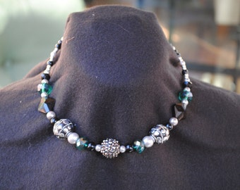 Teal, Silver and Grey Beaded Necklace