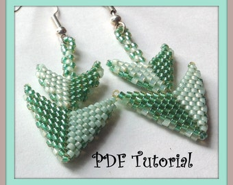 PDF Tutorial for Arrowhead Two-Toned Green Earrings...EBW Team