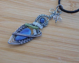 Blue Kyanite Peridot Moonstone Diamond Quartz Oxidized Sterling Silver Wire Wrapped Jewelry Handmade Renaissance Amulet Medallion Wrap