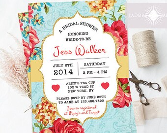 Floral Bridal Shower Invite, Floral Invitation, Vintage Invite, Printable Shower Invitation, Baby Shower, Birthday Invite, jadorepaperie