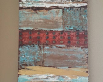 Sand and sea. Mixed media on 16x40 gallery wrapped canvas. FREE US SHIPPING.