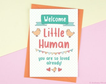 Welcome Little Human Card, Funny New Baby Card, New Parent Card, Welcome Baby Card, New Arrival Card, Baby Boy Baby Girl Card, New Baby Card