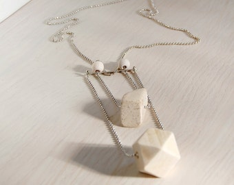 Wood delicate strand necklace.