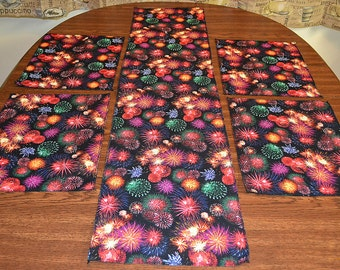 Table Runner and Placemat Set  for your American Celebration, Fireworks,Multi-color