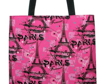 PARIS Forever Large Tote Book Bag, Eiffel Tower, Pink and Black  -  Back in Stock!