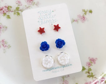 4th of July Earring Set, Red White and Blue Studs, Set of Three, Tiny Red Star Posts, Blue Rose Posts and White Sparkly Druzy Earrings