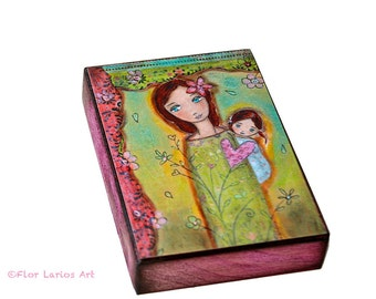Nuestra Primavera-  Giclee print mounted on Wood (4 x 5 inches) Folk Art  by FLOR LARIOS