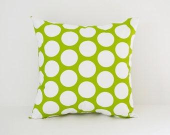 Pillow Cover Decorative Pillows Throw Pillows Green Pillow Large Polka Dot Pillow All Sizes