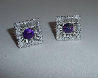 Fabulous Vintage Retro Textured Silver Tone & Purple / Blue Rivoli Crystal Cuff Links