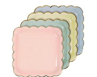 Small Pastel Paper Party Plates | Pastel Party Decor | Pastel Plates | Spring Party Decor