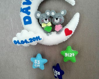Personalised baby mobile, moon