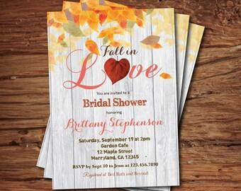 Fall in love bridal shower invitation fall bridal shower fall bridal shower invitation fall in love bridal shower rustic autumn leaves bridal shower filmwisefo Gallery