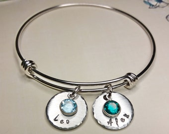 Hand Stamped Personalized Mothers Bracelet, Bangle, Names, Swarovski  Birthstones, Mothers Day Gift Idea, Mommy Jewelry, Custom, Adjustable